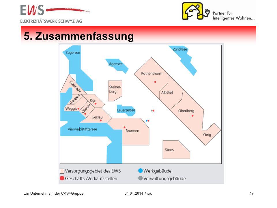 Ein Unternehmen der CKW-Gruppe1704.04.2014 / itro 5. Zusammenfassung