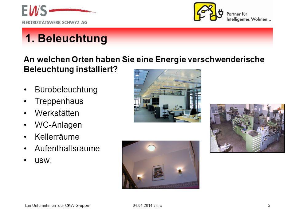 Ein Unternehmen der CKW-Gruppe504.04.2014 / itro 1. Beleuchtung An welchen Orten haben Sie eine Energie verschwenderische Beleuchtung installiert? Bür