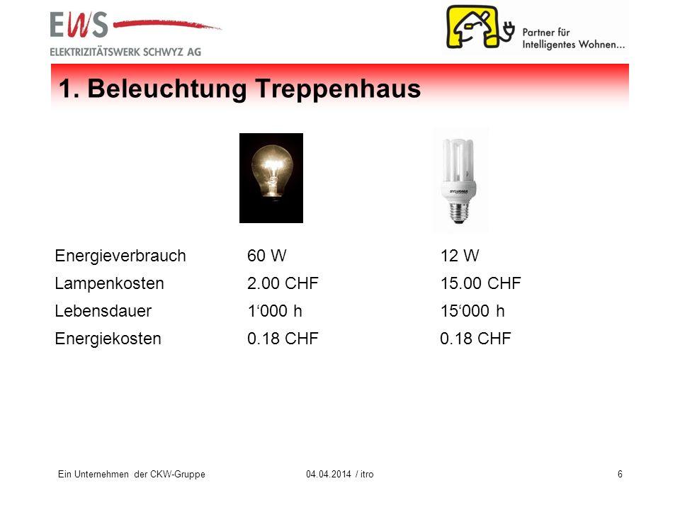 Ein Unternehmen der CKW-Gruppe604.04.2014 / itro Energieverbrauch60 W12 W Lampenkosten2.00 CHF15.00 CHF Lebensdauer1000 h15000 h Energiekosten0.18 CHF 1.