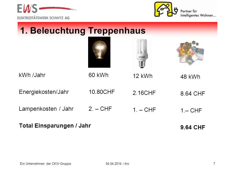 kWh /Jahr Energiekosten/Jahr Lampenkosten / Jahr Total Einsparungen / Jahr Ein Unternehmen der CKW-Gruppe704.04.2014 / itro 1. Beleuchtung Treppenhaus