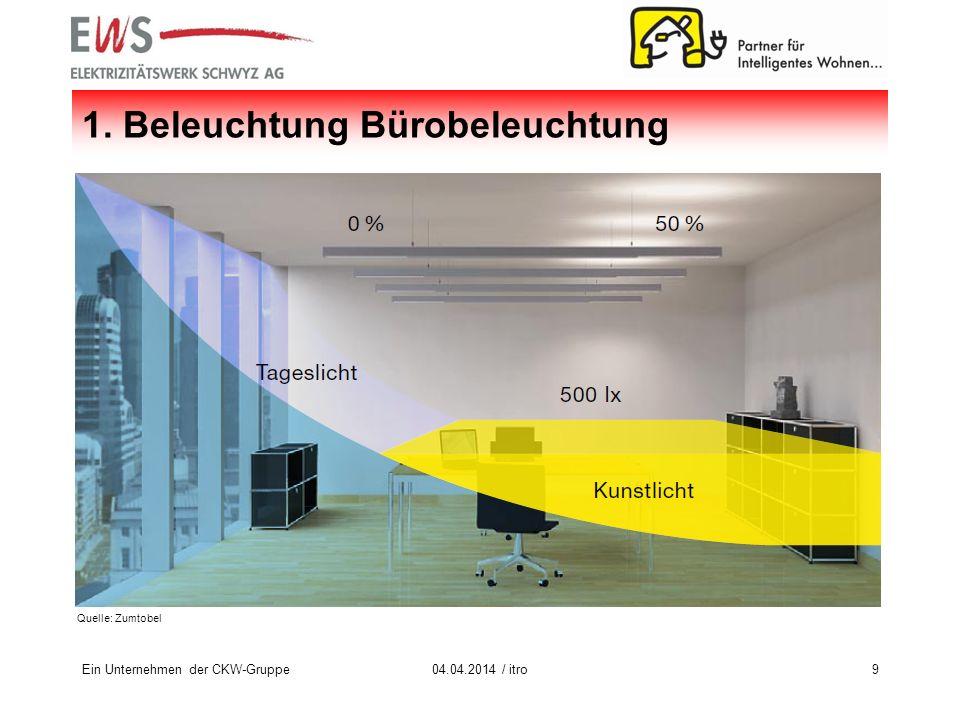 Ein Unternehmen der CKW-Gruppe904.04.2014 / itro 1. Beleuchtung Bürobeleuchtung Quelle: Zumtobel