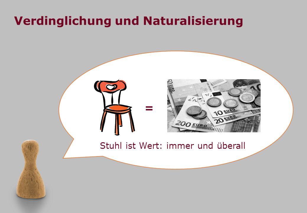 Verdinglichung und Naturalisierung Stuhl ist Wert: immer und überall =