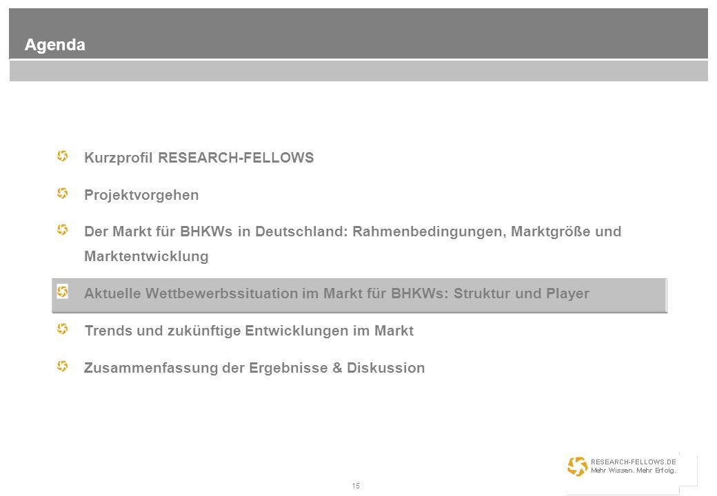 15 Agenda Kurzprofil RESEARCH-FELLOWS Projektvorgehen Der Markt für BHKWs in Deutschland: Rahmenbedingungen, Marktgröße und Marktentwicklung Aktuelle