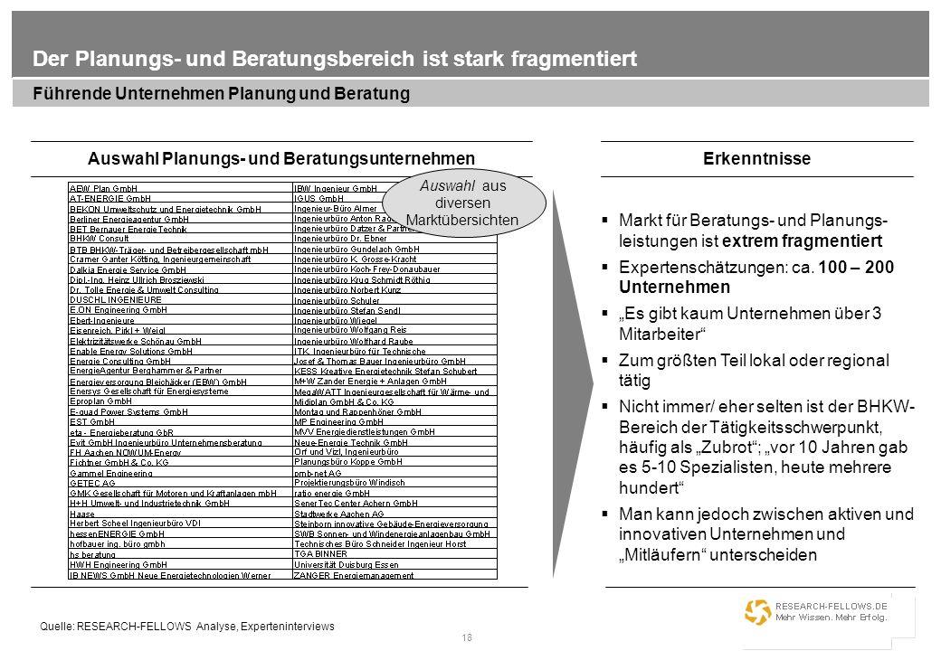 18 Der Planungs- und Beratungsbereich ist stark fragmentiert Führende Unternehmen Planung und Beratung Auswahl Planungs- und BeratungsunternehmenErken