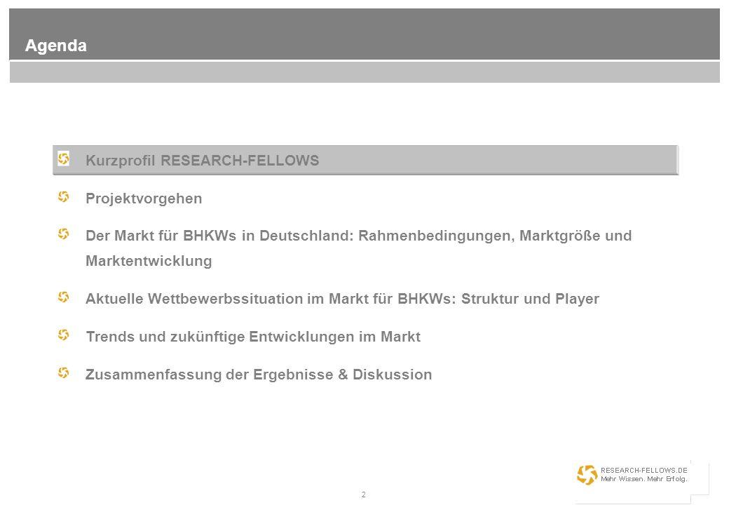 2 Agenda Kurzprofil RESEARCH-FELLOWS Projektvorgehen Der Markt für BHKWs in Deutschland: Rahmenbedingungen, Marktgröße und Marktentwicklung Aktuelle W