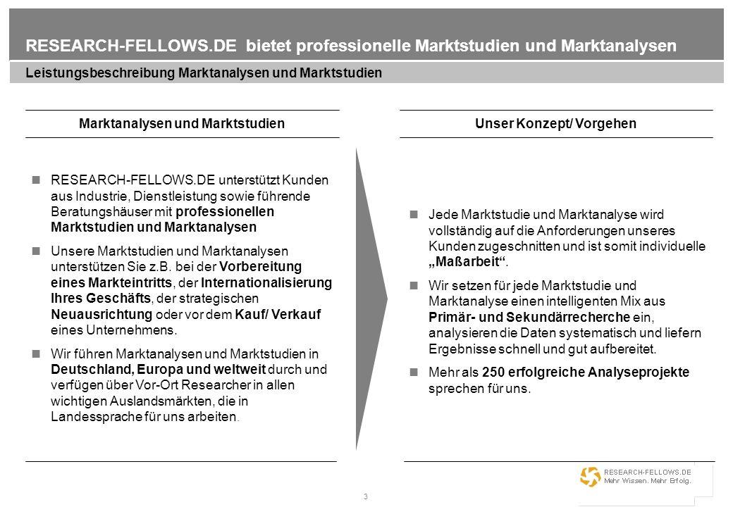 3 RESEARCH-FELLOWS.DE bietet professionelle Marktstudien und Marktanalysen Leistungsbeschreibung Marktanalysen und Marktstudien Marktanalysen und Mark