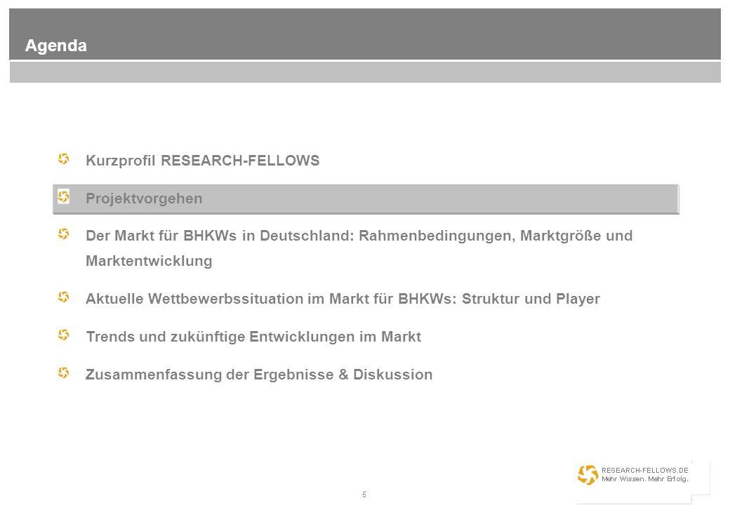 5 Agenda Kurzprofil RESEARCH-FELLOWS Projektvorgehen Der Markt für BHKWs in Deutschland: Rahmenbedingungen, Marktgröße und Marktentwicklung Aktuelle W
