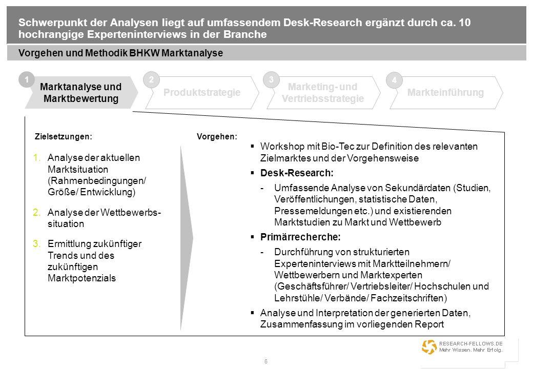 6 Schwerpunkt der Analysen liegt auf umfassendem Desk-Research ergänzt durch ca. 10 hochrangige Experteninterviews in der Branche Vorgehen und Methodi