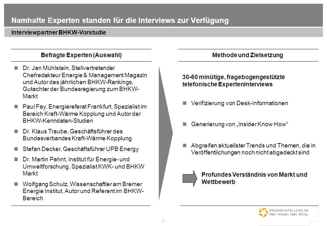 7 Namhafte Experten standen für die Interviews zur Verfügung Interviewpartner BHKW-Vorstudie Befragte Experten (Auswahl) Dr. Jan Mühlstein, Stellvertr