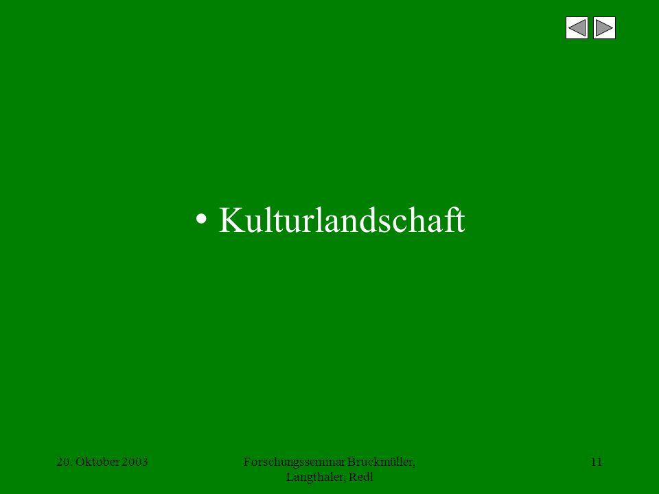 20. Oktober 2003Forschungsseminar Bruckmüller, Langthaler, Redl 11 Kulturlandschaft