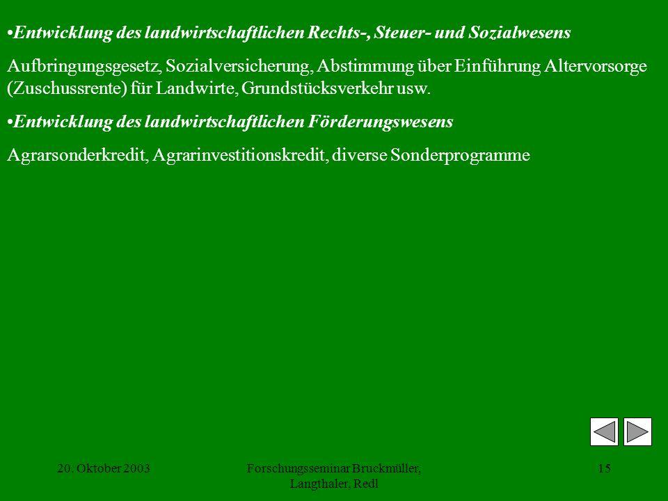 20. Oktober 2003Forschungsseminar Bruckmüller, Langthaler, Redl 15 Entwicklung des landwirtschaftlichen Rechts-, Steuer- und Sozialwesens Aufbringungs