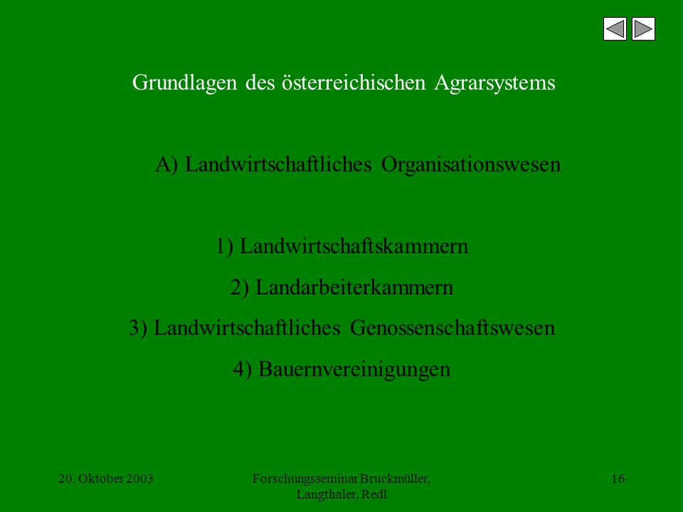 20. Oktober 2003Forschungsseminar Bruckmüller, Langthaler, Redl 16 Grundlagen des österreichischen Agrarsystems A) Landwirtschaftliches Organisationsw