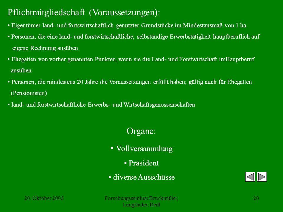 20. Oktober 2003Forschungsseminar Bruckmüller, Langthaler, Redl 20 Pflichtmitgliedschaft (Voraussetzungen): Eigentümer land- und fortswirtschaftlich g
