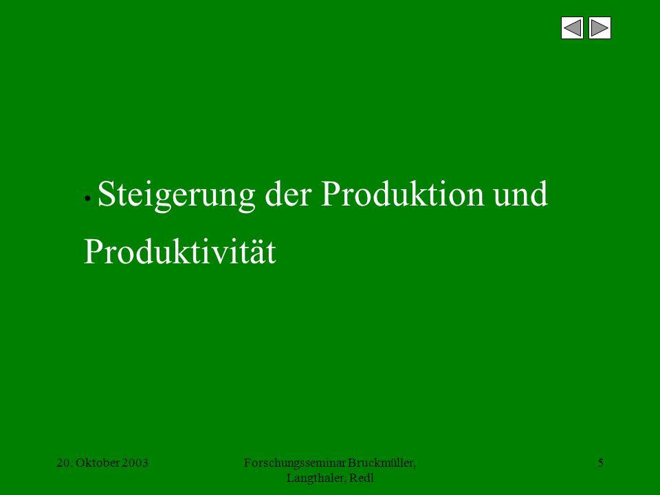 20. Oktober 2003Forschungsseminar Bruckmüller, Langthaler, Redl 5 Steigerung der Produktion und Produktivität