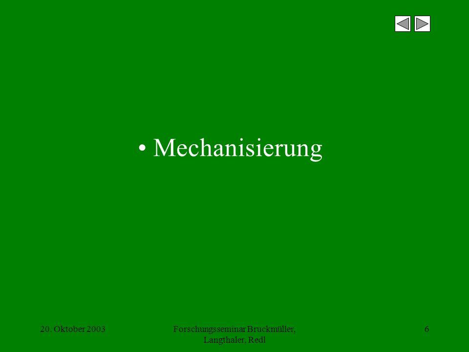 20. Oktober 2003Forschungsseminar Bruckmüller, Langthaler, Redl 6 Mechanisierung