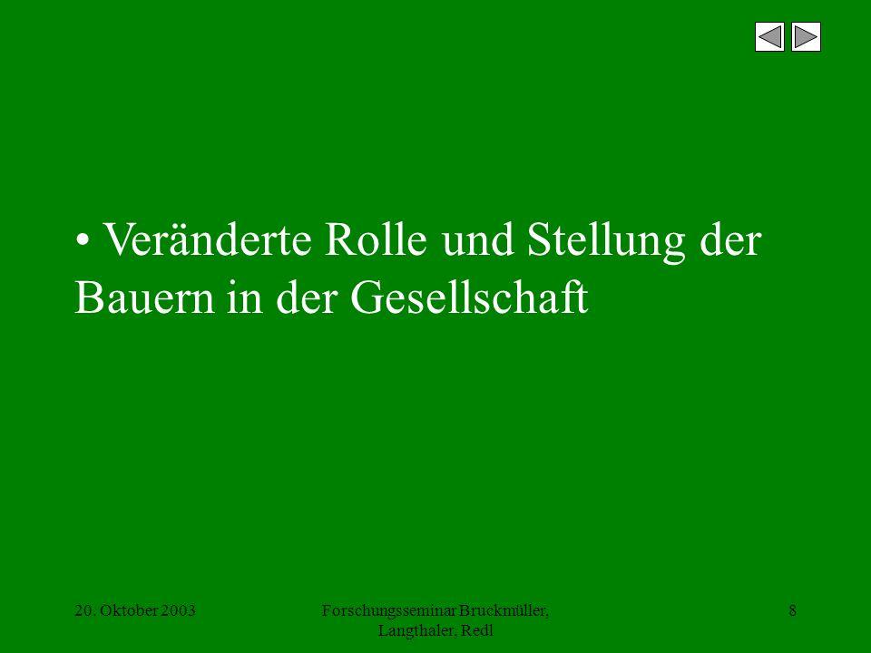 20. Oktober 2003Forschungsseminar Bruckmüller, Langthaler, Redl 8 Veränderte Rolle und Stellung der Bauern in der Gesellschaft