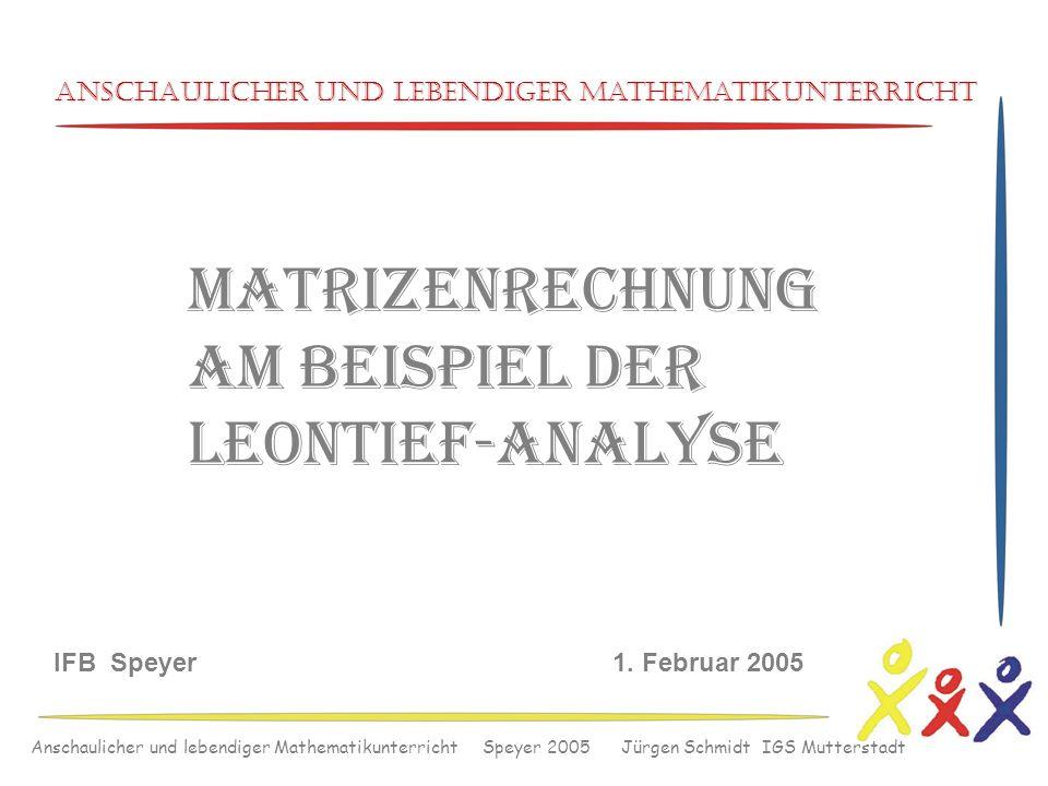 Anschaulicher und lebendiger Mathematikunterricht Speyer 2005 Jürgen Schmidt IGS Mutterstadt Anschaulicher und lebendiger Mathematikunterricht IFB Spe
