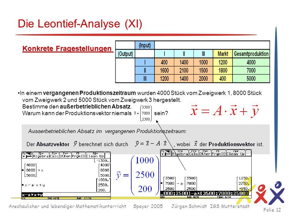 Anschaulicher und lebendiger Mathematikunterricht Speyer 2005 Jürgen Schmidt IGS Mutterstadt Folie 12 Die Leontief-Analyse (XI) Konkrete Fragestellung