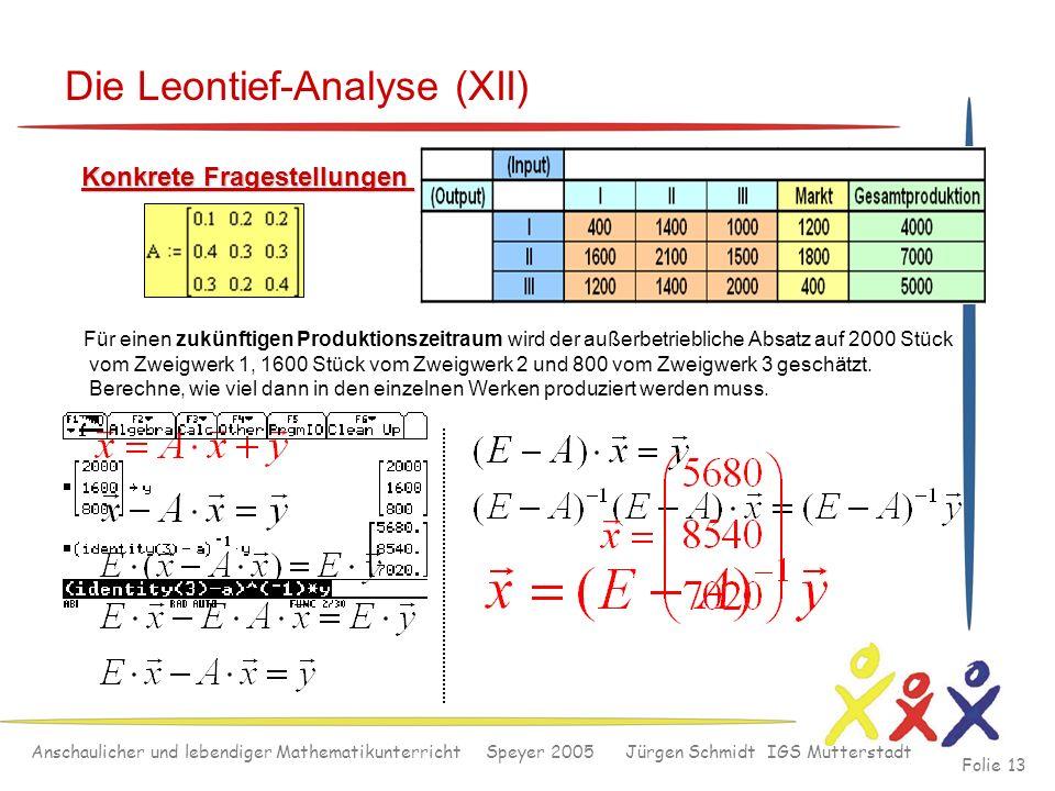 Anschaulicher und lebendiger Mathematikunterricht Speyer 2005 Jürgen Schmidt IGS Mutterstadt Folie 13 Die Leontief-Analyse (XII) Konkrete Fragestellun