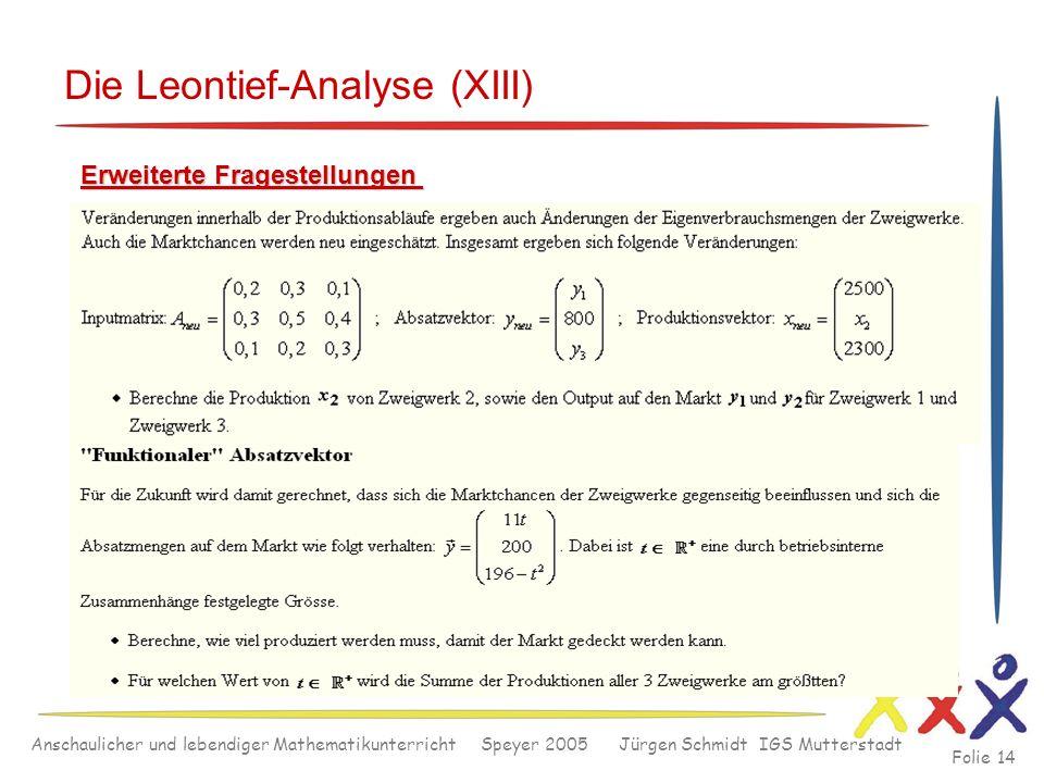 Anschaulicher und lebendiger Mathematikunterricht Speyer 2005 Jürgen Schmidt IGS Mutterstadt Folie 14 Die Leontief-Analyse (XIII) Erweiterte Fragestel