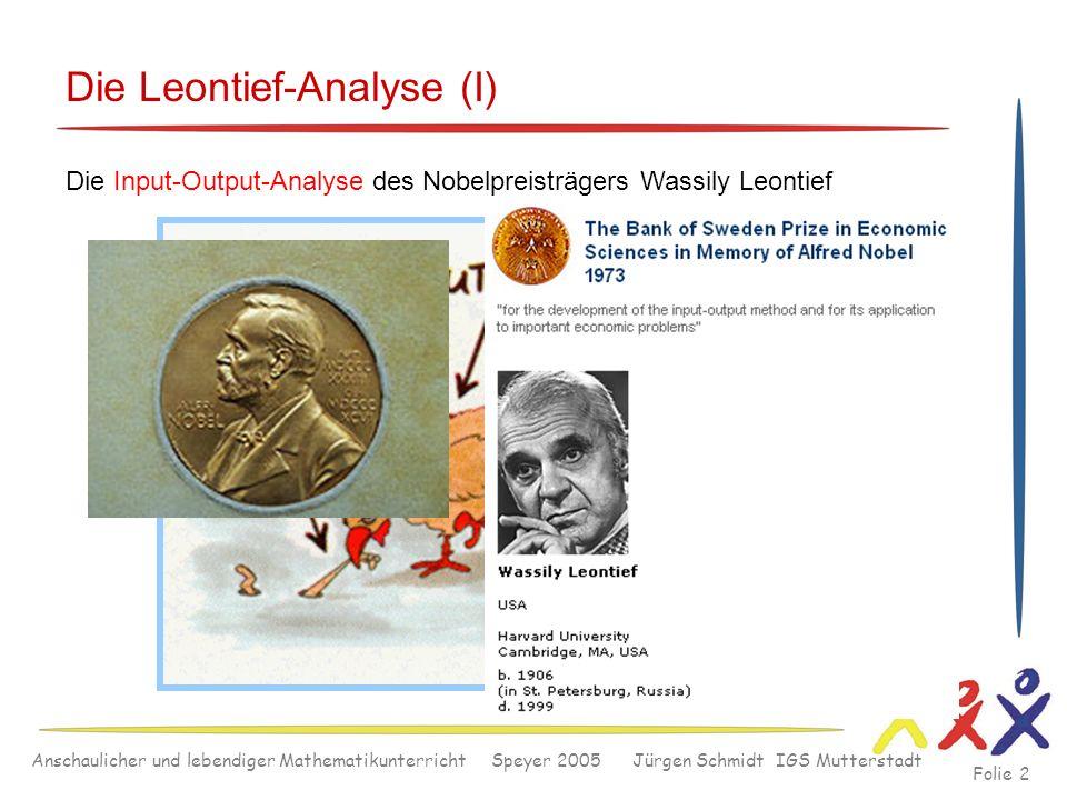 Anschaulicher und lebendiger Mathematikunterricht Speyer 2005 Jürgen Schmidt IGS Mutterstadt Folie 2 Die Leontief-Analyse (I) Die Input-Output-Analyse