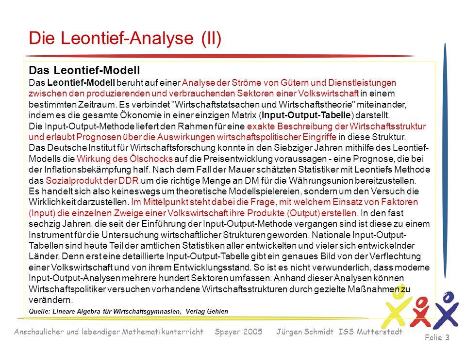 Anschaulicher und lebendiger Mathematikunterricht Speyer 2005 Jürgen Schmidt IGS Mutterstadt Folie 3 Die Leontief-Analyse (II) Das Leontief-Modell Das