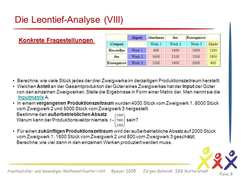 Anschaulicher und lebendiger Mathematikunterricht Speyer 2005 Jürgen Schmidt IGS Mutterstadt Folie 9 Die Leontief-Analyse (VIII) Konkrete Fragestellun