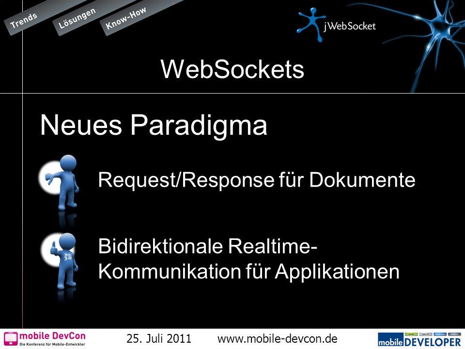 25. Juli 2011www.mobile-devcon.de WebSockets Neues Paradigma Request/Response für Dokumente Bidirektionale Realtime- Kommunikation für Applikationen