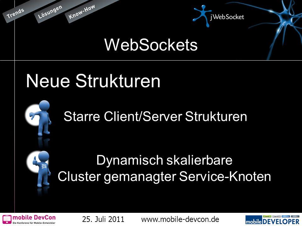 25. Juli 2011www.mobile-devcon.de WebSockets Neue Strukturen Dynamisch skalierbare Cluster gemanagter Service-Knoten Starre Client/Server Strukturen
