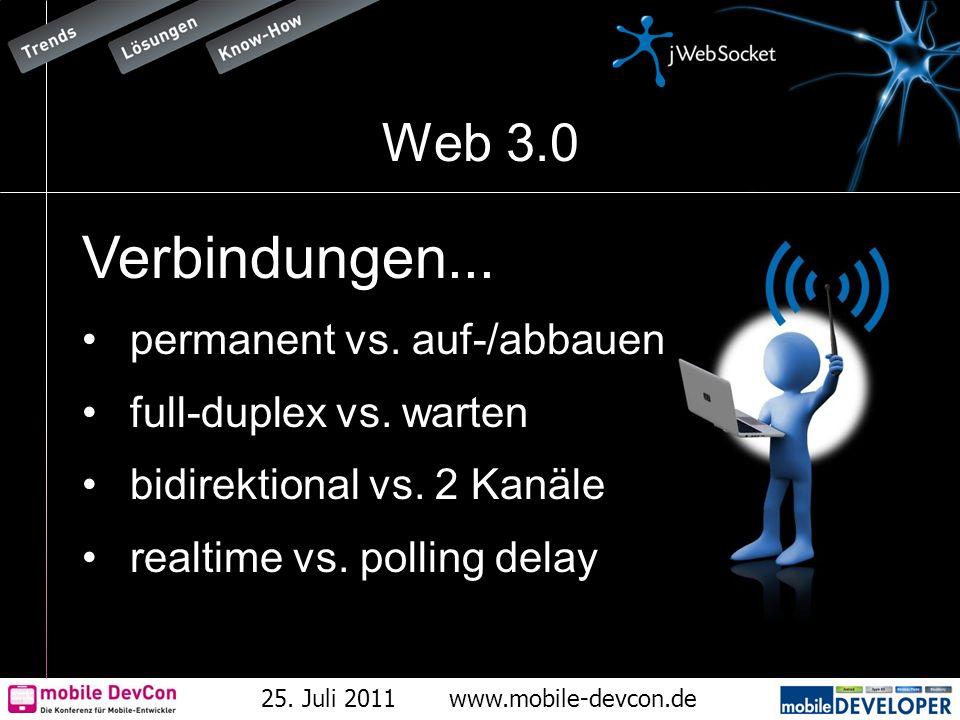 25. Juli 2011www.mobile-devcon.de Web 3.0 Verbindungen... permanent vs. auf-/abbauen full-duplex vs. warten bidirektional vs. 2 Kanäle realtime vs. po