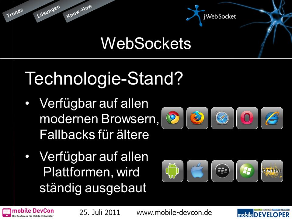 25. Juli 2011www.mobile-devcon.de WebSockets Technologie-Stand? Verfügbar auf allen modernen Browsern, Fallbacks für ältere Verfügbar auf allen Plattf