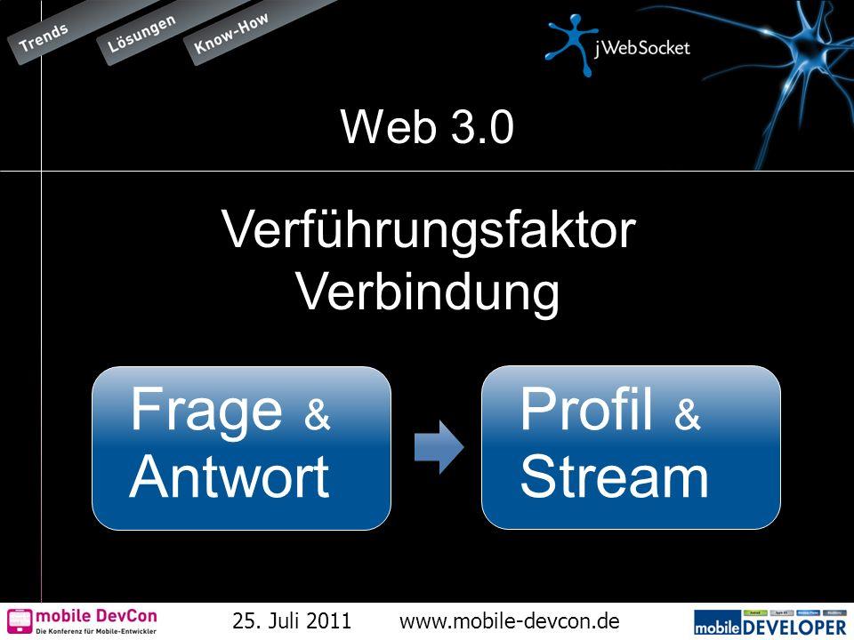 25. Juli 2011www.mobile-devcon.de Web 3.0 Verführungsfaktor Verbindung Frage & Antwort Profil & Stream