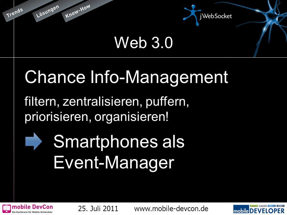 25. Juli 2011www.mobile-devcon.de Web 3.0 Chance Info-Management filtern, zentralisieren, puffern, priorisieren, organisieren! Smartphones als Event-M