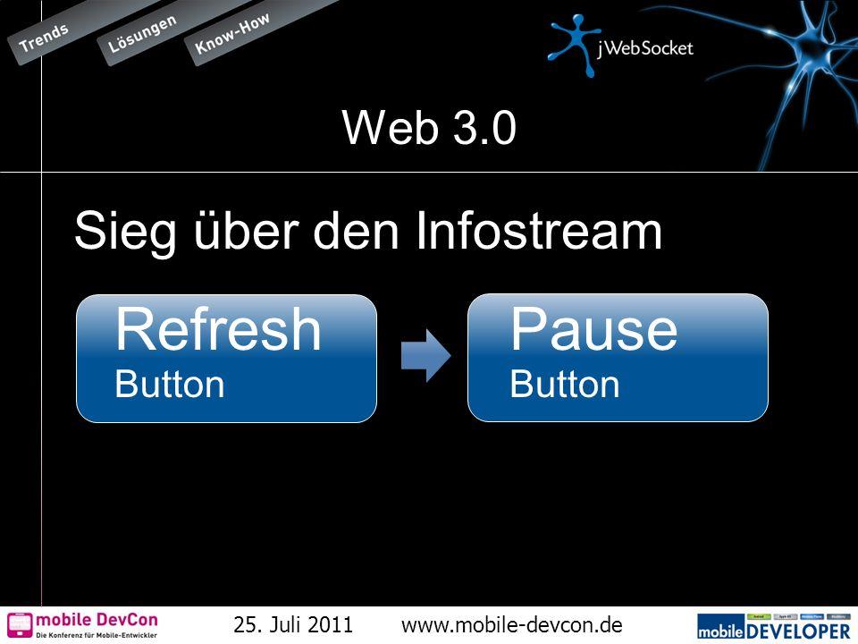 25. Juli 2011www.mobile-devcon.de Web 3.0 Sieg über den Infostream Refresh Button Pause Button