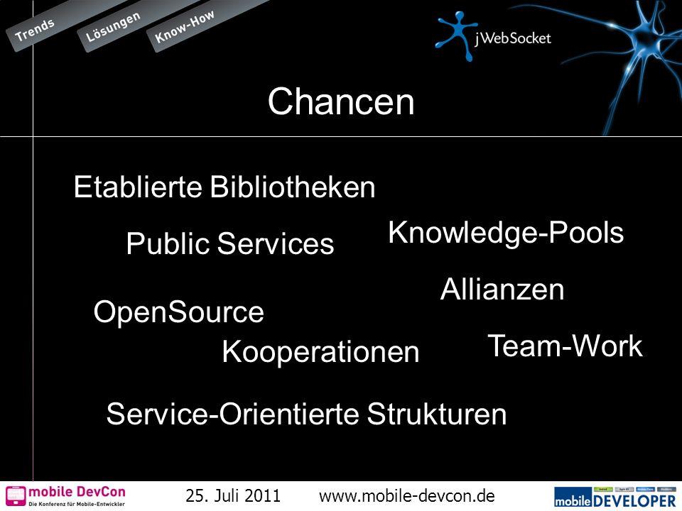 25. Juli 2011www.mobile-devcon.de Chancen Knowledge-Pools Kooperationen Allianzen OpenSource Etablierte Bibliotheken Service-Orientierte Strukturen Pu