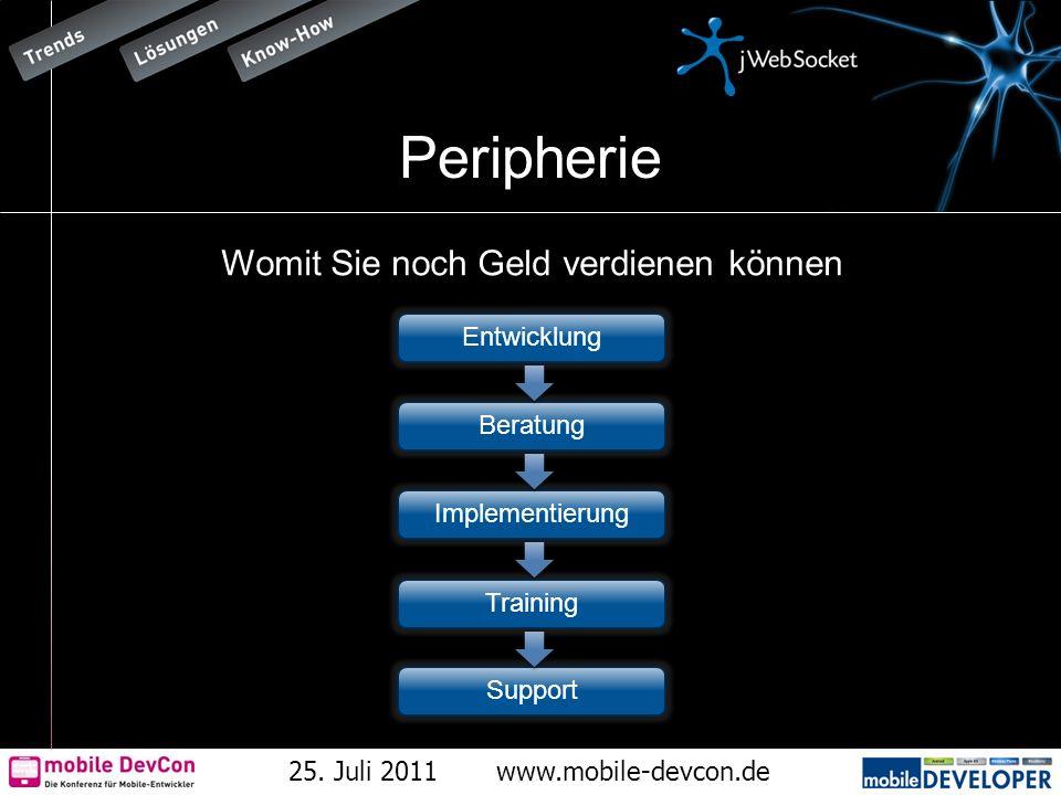25. Juli 2011www.mobile-devcon.de Peripherie Womit Sie noch Geld verdienen können Entwicklung Beratung Implementierung Training Support