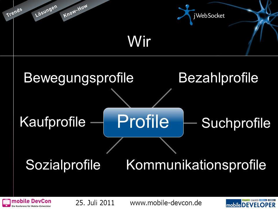 25. Juli 2011www.mobile-devcon.de Wir Bewegungsprofile Kaufprofile Suchprofile Kommunikationsprofile Bezahlprofile Sozialprofile Profile