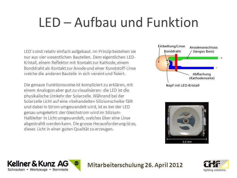 Mitarbeiterschulung 26. April 2012 LED – Aufbau und Funktion LED´s sind relativ einfach aufgebaut. Im Prinzip bestehen sie nur aus vier wesentlichen B