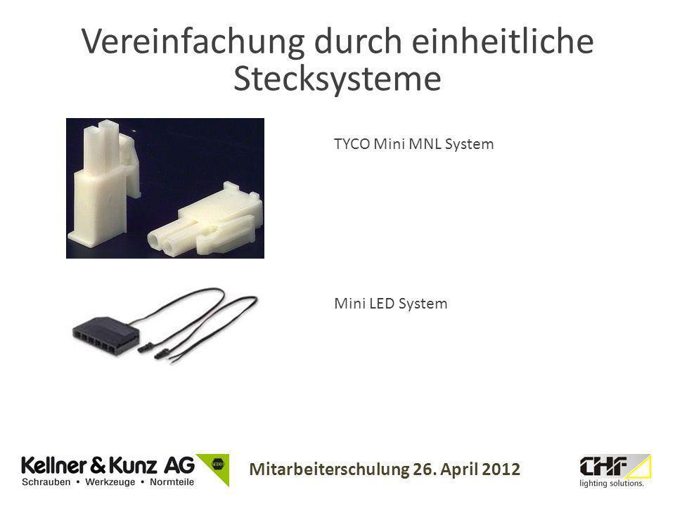 Mitarbeiterschulung 26. April 2012 Vereinfachung durch einheitliche Stecksysteme TYCO Mini MNL System Mini LED System