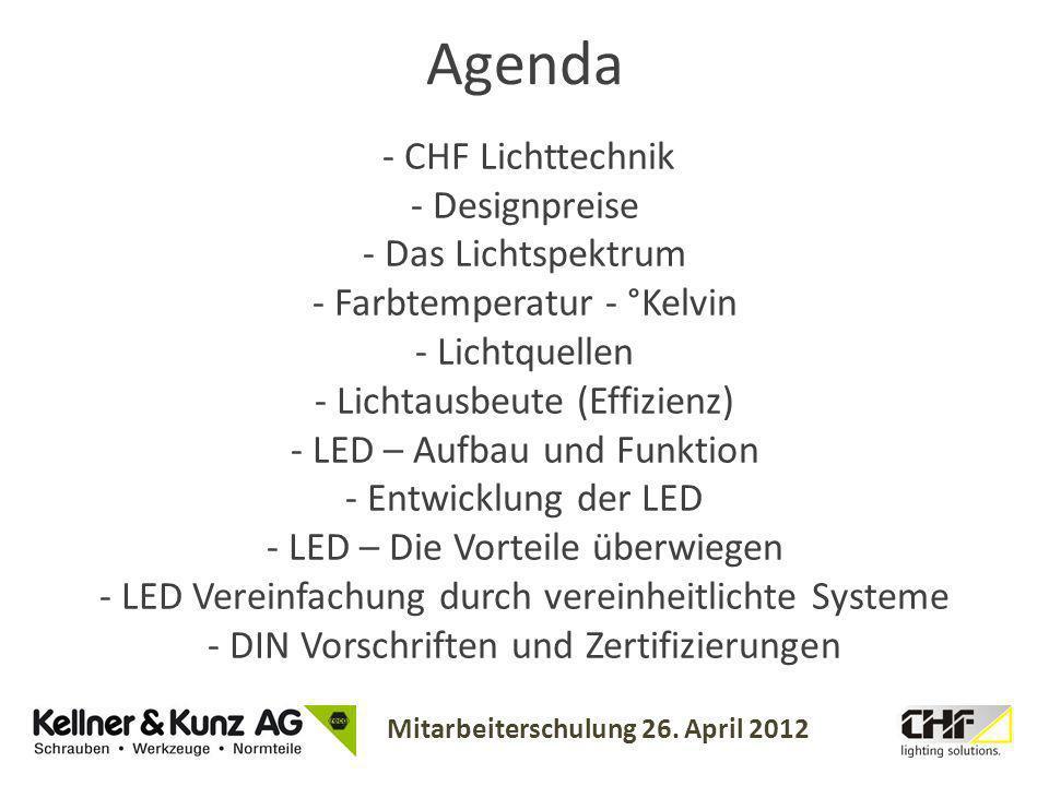 Mitarbeiterschulung 26. April 2012 - CHF Lichttechnik - Designpreise - Das Lichtspektrum - Farbtemperatur - °Kelvin - Lichtquellen - Lichtausbeute (Ef