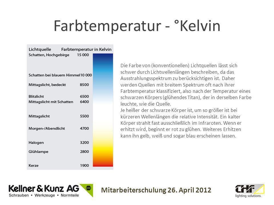 Mitarbeiterschulung 26. April 2012 Farbtemperatur - °Kelvin Die Farbe von (konventionellen) Lichtquellen lässt sich schwer durch Lichtwellenlängen bes