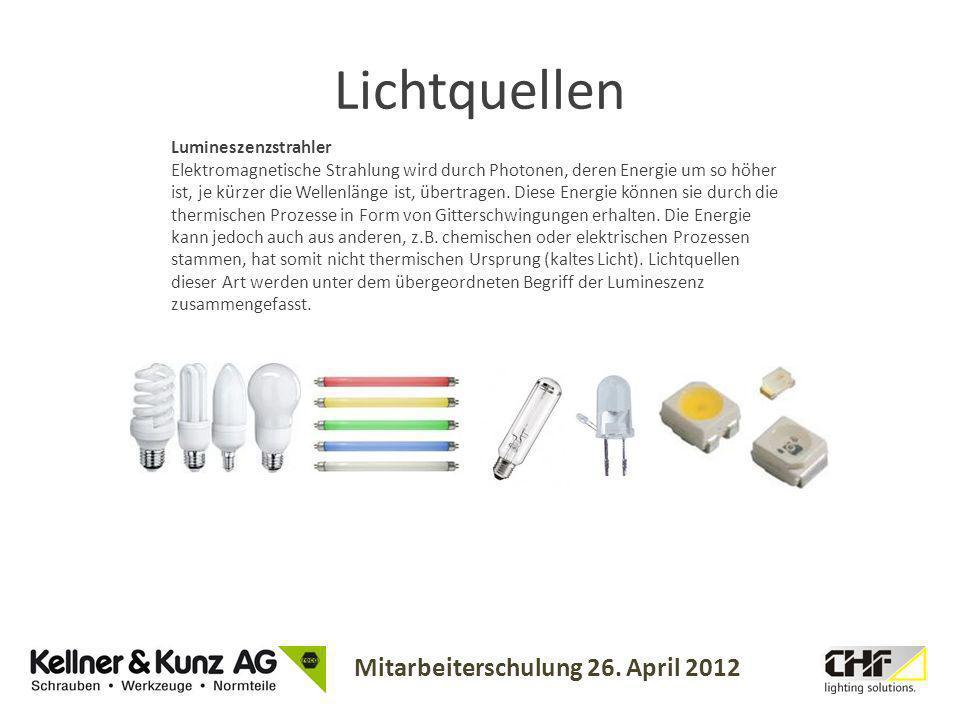 Mitarbeiterschulung 26. April 2012 Lumineszenzstrahler Elektromagnetische Strahlung wird durch Photonen, deren Energie um so höher ist, je kürzer die