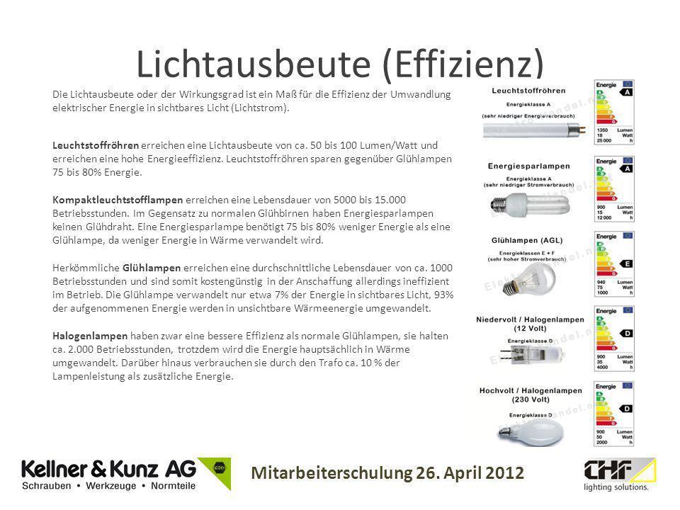 Mitarbeiterschulung 26. April 2012 Lichtausbeute (Effizienz) Leuchtstoffröhren erreichen eine Lichtausbeute von ca. 50 bis 100 Lumen/Watt und erreiche