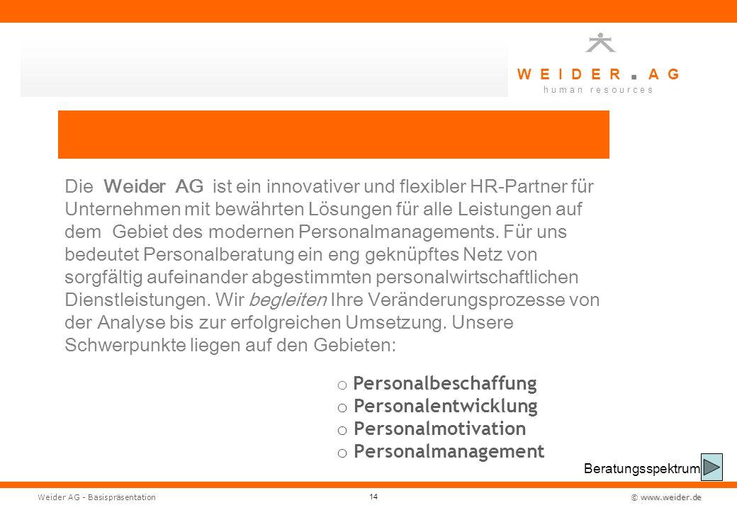 W E I D E R. A G h u m a n r e s o u r c e s www.weider.de © www.weider.deWeider AG - Basispräsentation 14 Die Weider AG ist ein innovativer und flexi