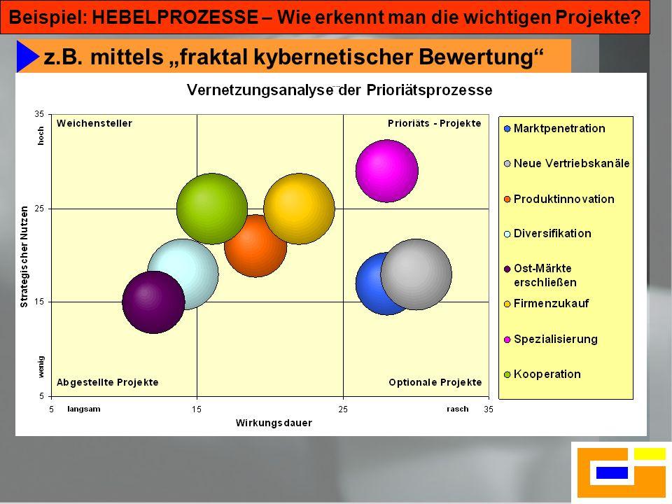 18 Beispiel: HEBELPROZESSE – Wie erkennt man die wichtigen Projekte? z.B. mittels fraktal kybernetischer Bewertung Hebelprozesse