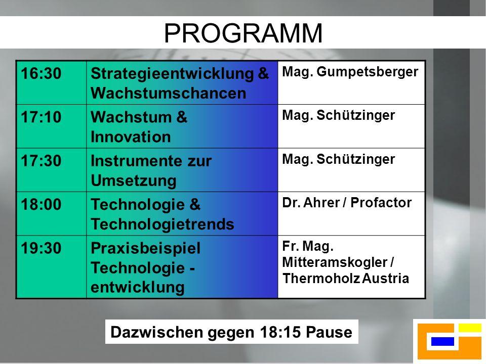 2 PROGRAMM 16:30Strategieentwicklung & Wachstumschancen Mag. Gumpetsberger 17:10Wachstum & Innovation Mag. Schützinger 17:30Instrumente zur Umsetzung