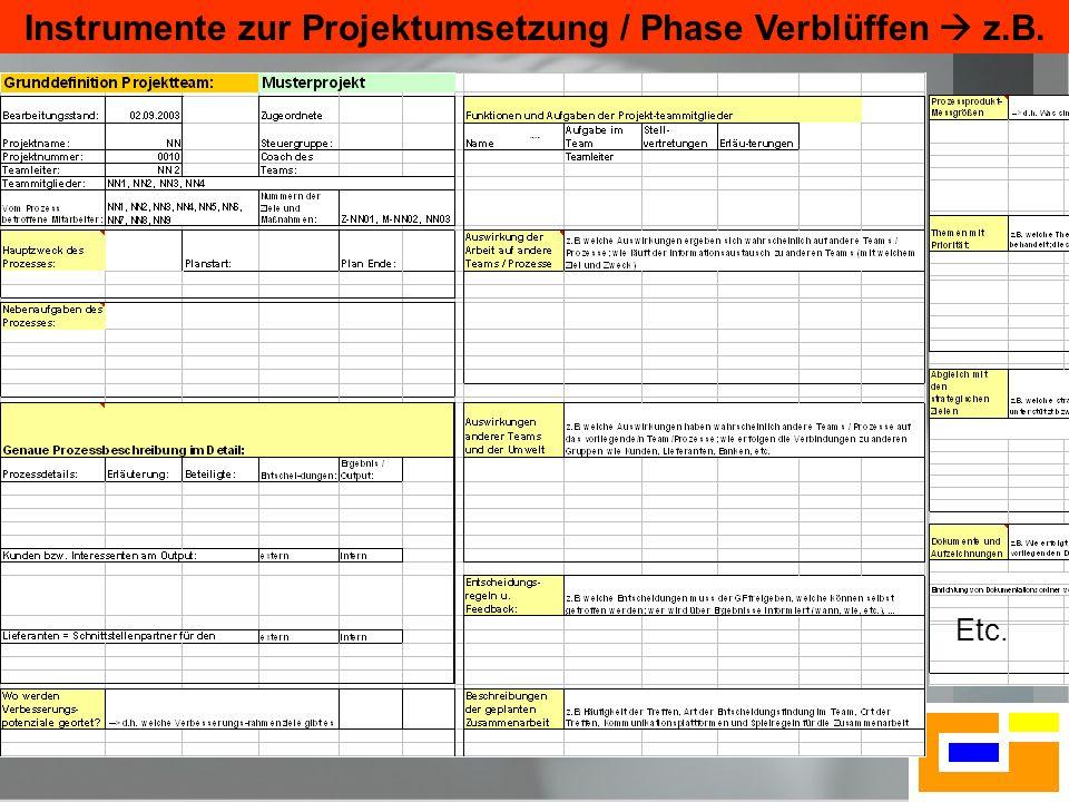 21 Projektblatt Etc. Instrumente zur Projektumsetzung / Phase Verblüffen z.B.