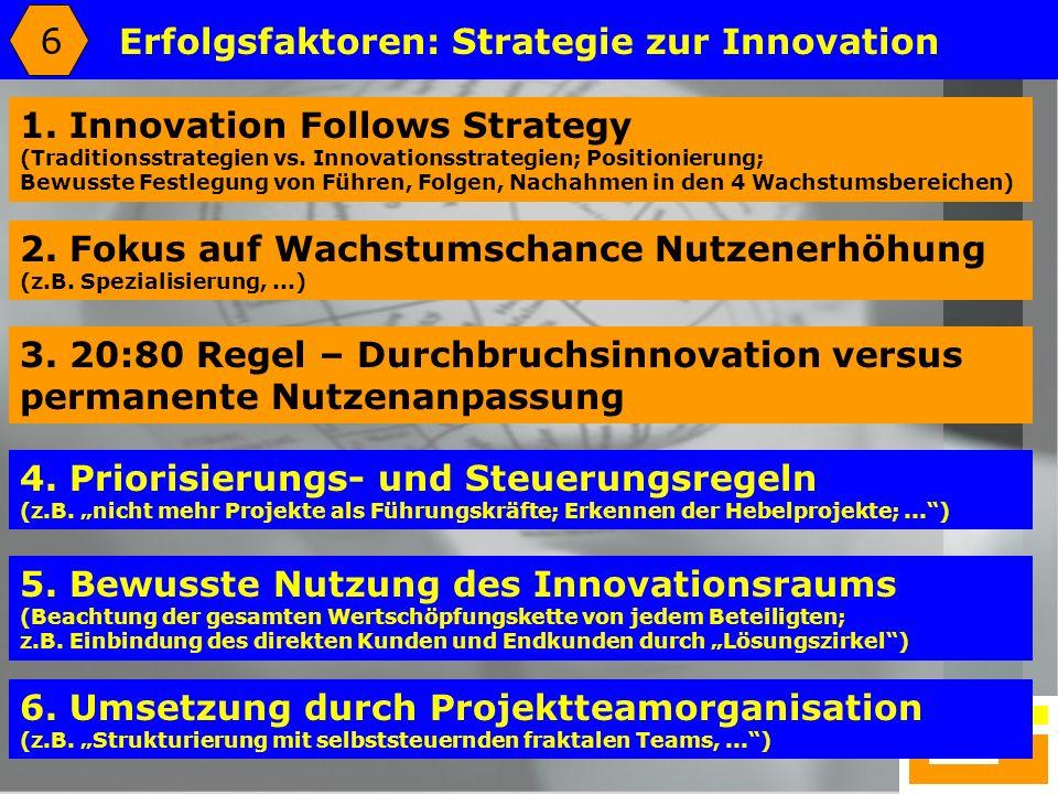 25 Erfolgsfaktoren: Strategie zur Innovation 4. Priorisierungs- und Steuerungsregeln (z.B. nicht mehr Projekte als Führungskräfte; Erkennen der Hebelp