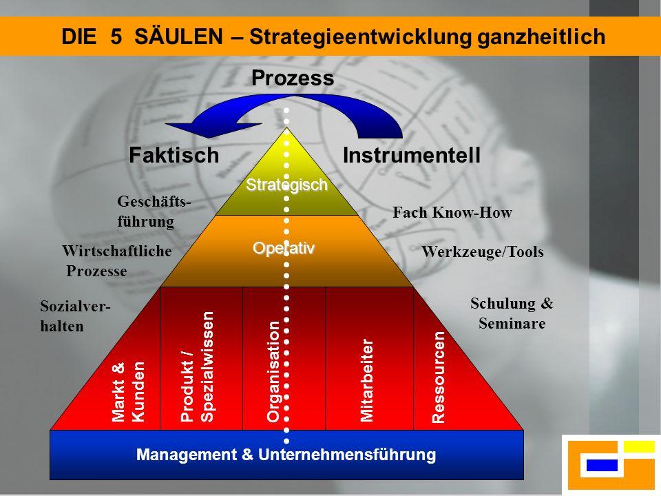 4 5 Säulen Fundament DIE 5 SÄULEN – Strategieentwicklung ganzheitlich Operativ Management & Unternehmensführung Strategisch FaktischInstrumentell Mark