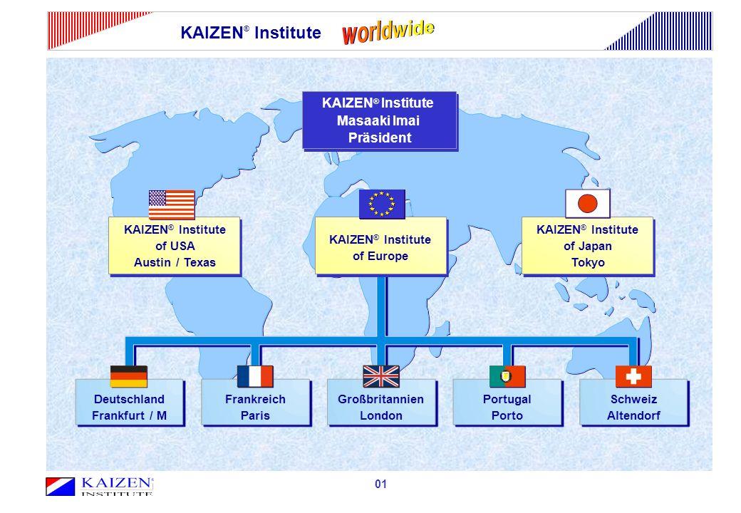 KAIZEN ® Institute 01 KAIZEN ® Institute Masaaki Imai Präsident KAIZEN ® Institute of Japan Tokyo KAIZEN ® Institute of USA Austin / Texas KAIZEN ® In